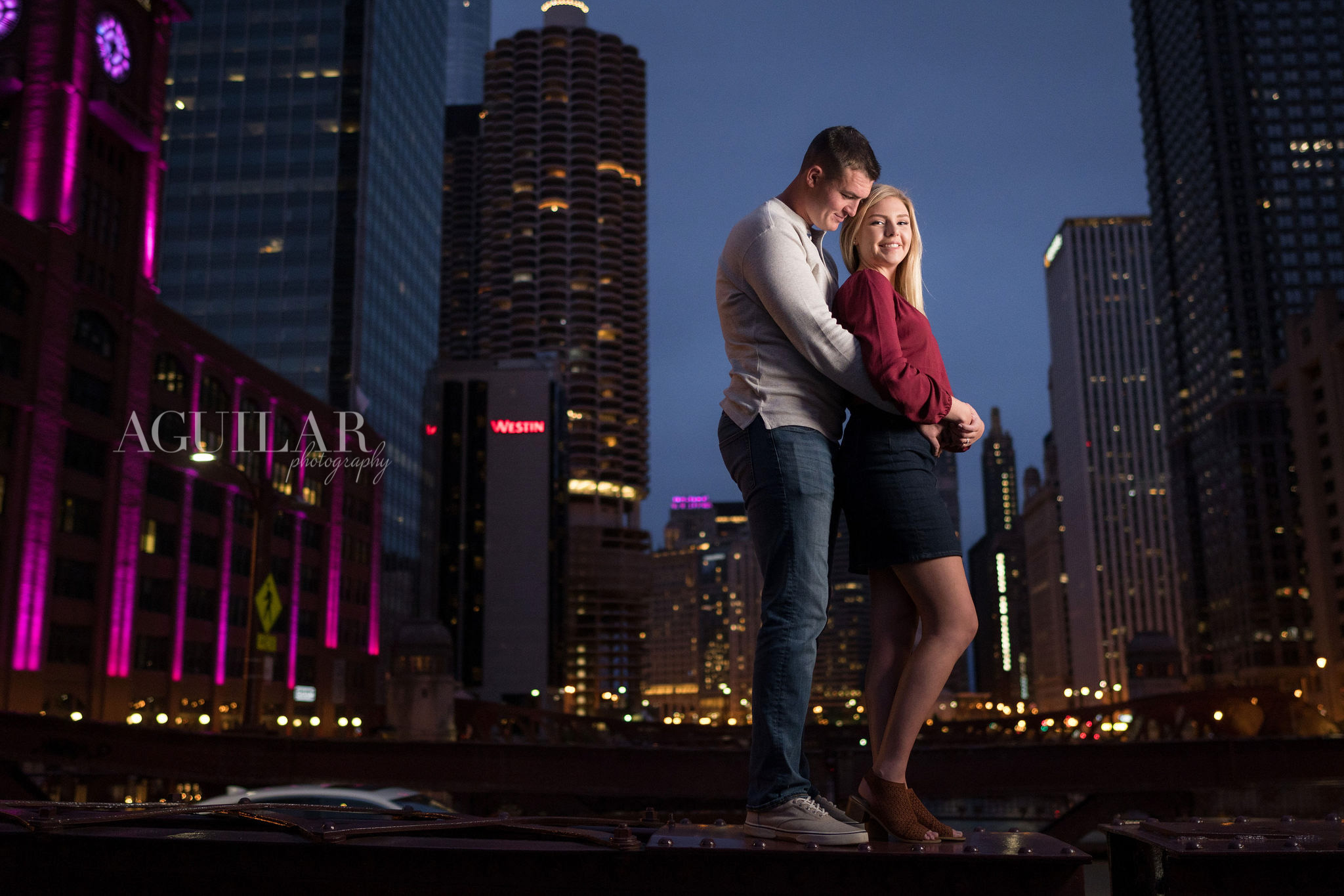 Colton & Taylor's Downtown Chicago Riverwalk Engagement 12
