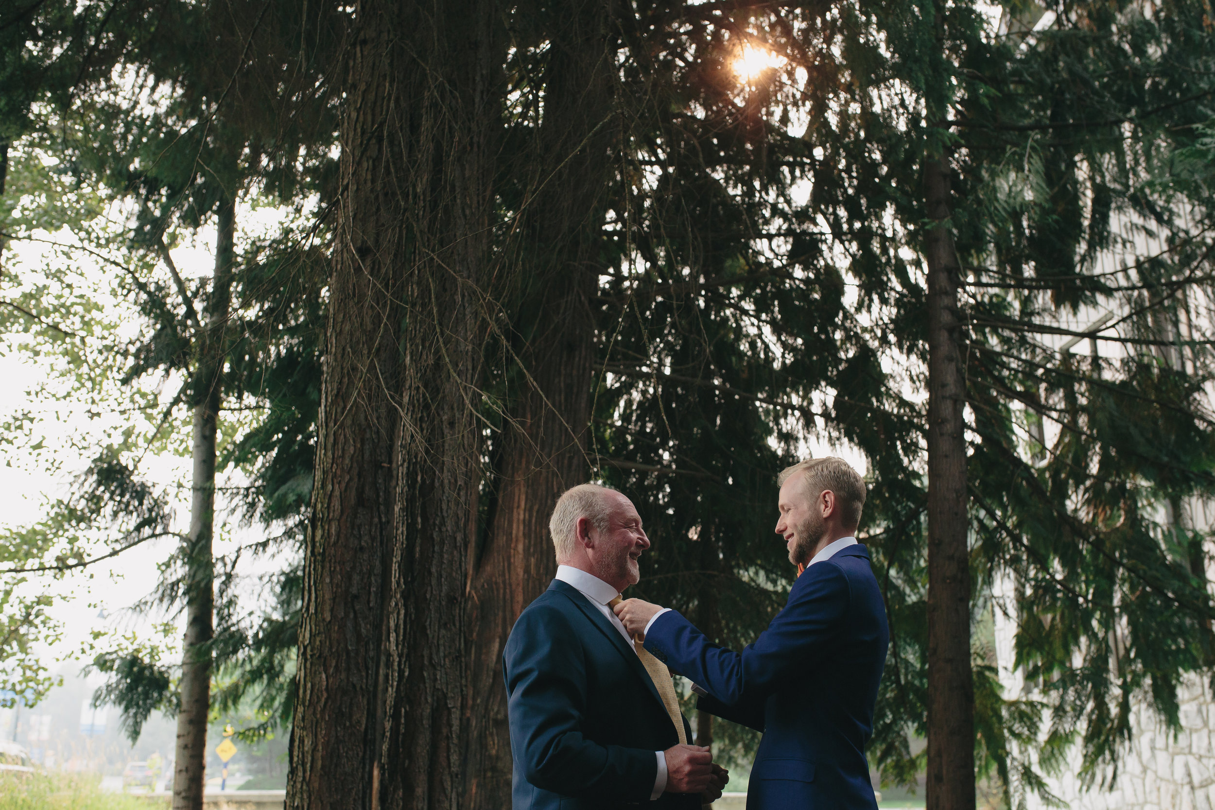 A groom and his father