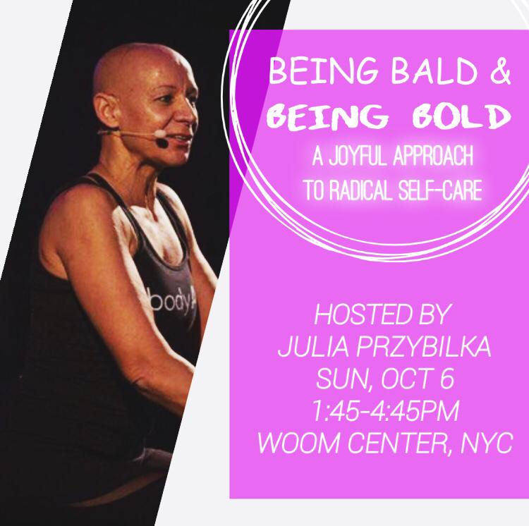 EVENTS - SUNDAY OCT 06th , SAVE THE DATE!BEING BALD and BEING BOLD - A JOYful approach to radical selfcare☺A journey from competitive gymnastics through motherhood, being a fitness professional and the 'global mother' of bodyART-training, to becoming a GROOVE facilitator and how this lead me into living pure bliss – PURA VIDAJulia will start this event with sharing her inspiring personal journey, which is a reflection of 25 years being a fitness professional and exploring her inner world. She is a mover and shaker and so is life, it is constantly moving. Her lecture will guide you into a class based on the bodyART-training-principles. The goal is to challenge your body and mind while treating yourself with kindness at the same time. Every exercise effects not only the physical, but also the mental and emotional body. Conscious modifications and varitations will make your practice successful, enjoyble and help you experiencing how good it feels to feel good.After focussing on alignement, structure and breath, we will add creativity and connection duringTHE GROOVE DANCE FLOOR experienceThe worldgroovemovement was founded by Misty Tripoli. Her powerful yet surprisingly simple method to movement, mindfulness and creativity that makes dance easy and accessible to everyone has quickly evolved into a global dance movement with Groove Dancefloors in over 20 countries. The World Groove Movement has become one of the leading voices in the conscious movement revolution.GROOVE is an easy and fun dance party - you can't get it wrong!Julia will take you on a 'ride' through different music styles. Although we are all united in the same move you will get the freedom to express yourself authentically and creatively. If you can walk, you can GROOVE! A powerful way to connect to yourself.