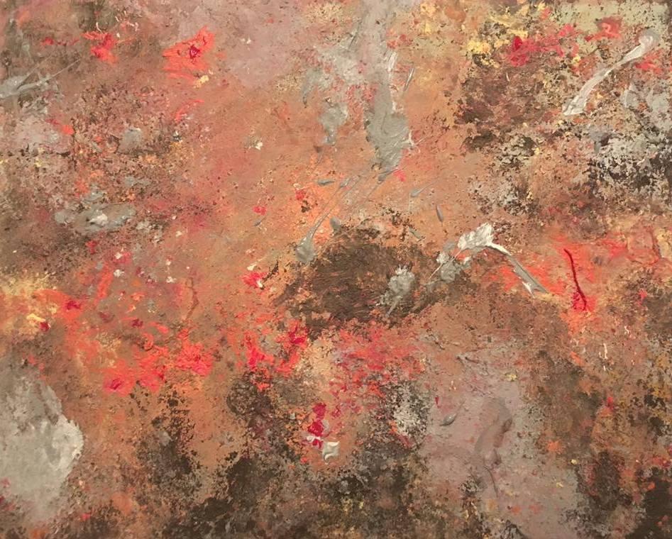 "fiery crescent   mixed media, 20x16"" (2017)"