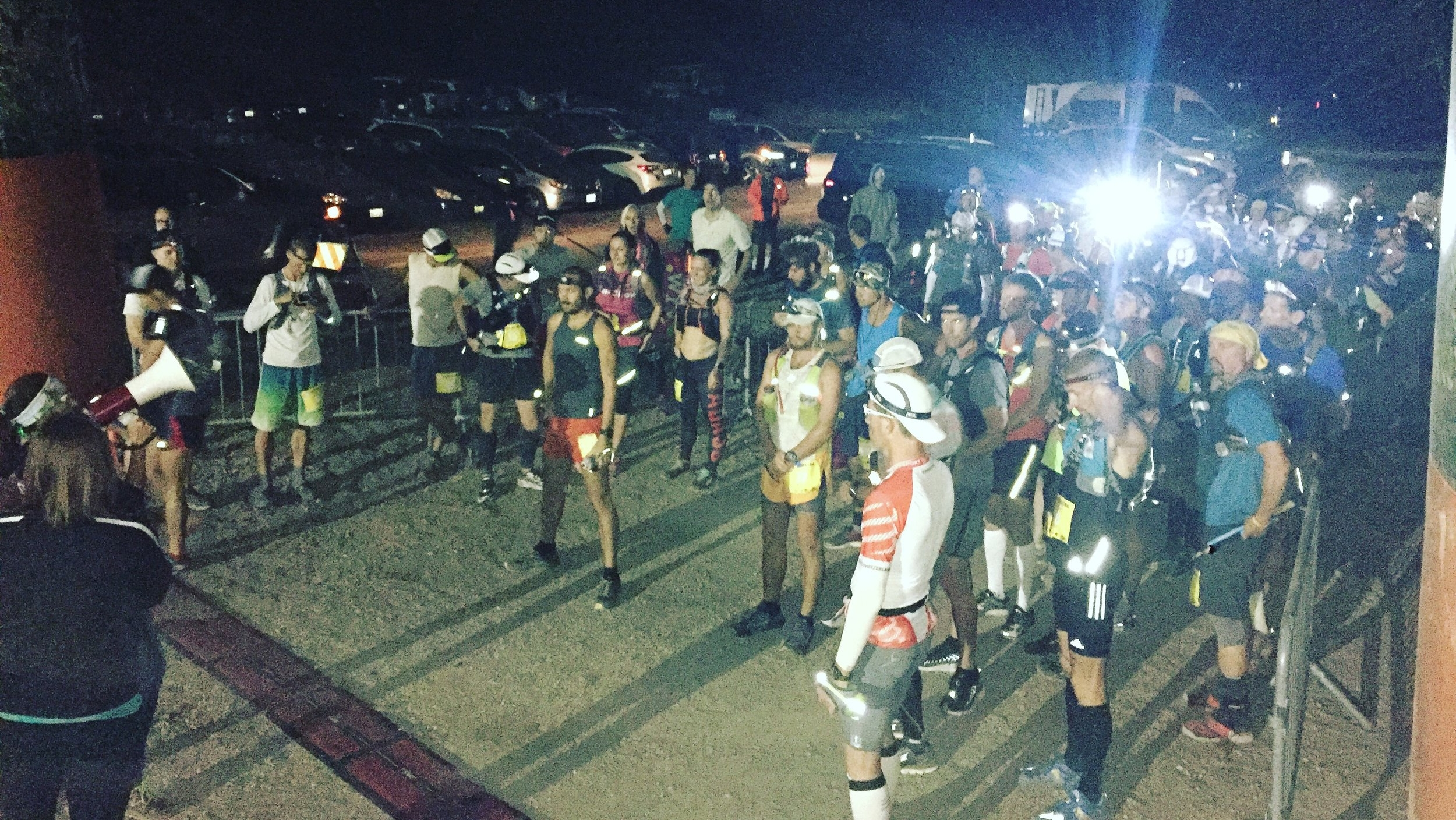 50 Mile Ultra participants toe the line at the start of their race; the first of the day.