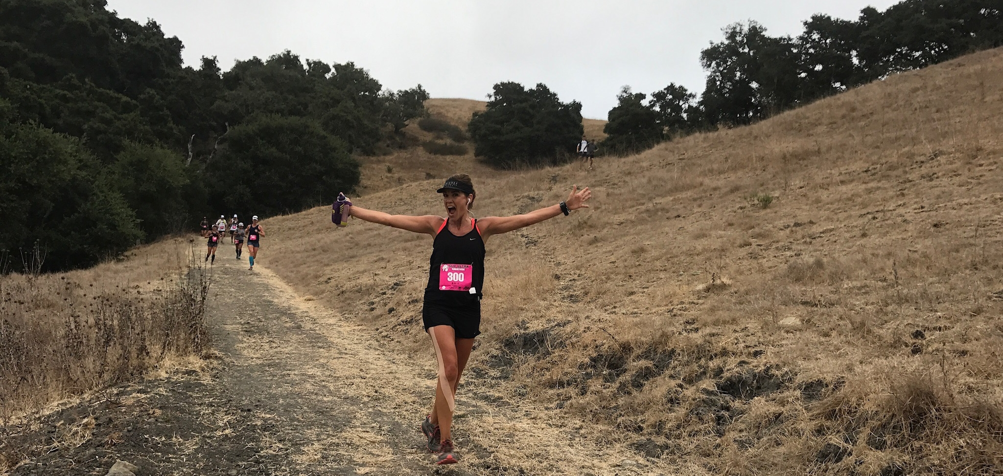 Amy Parkinson of San Luis Obispo enjoying the trails of the SLO Ultra; she placed 2nd in the Women's 50-59 age group.