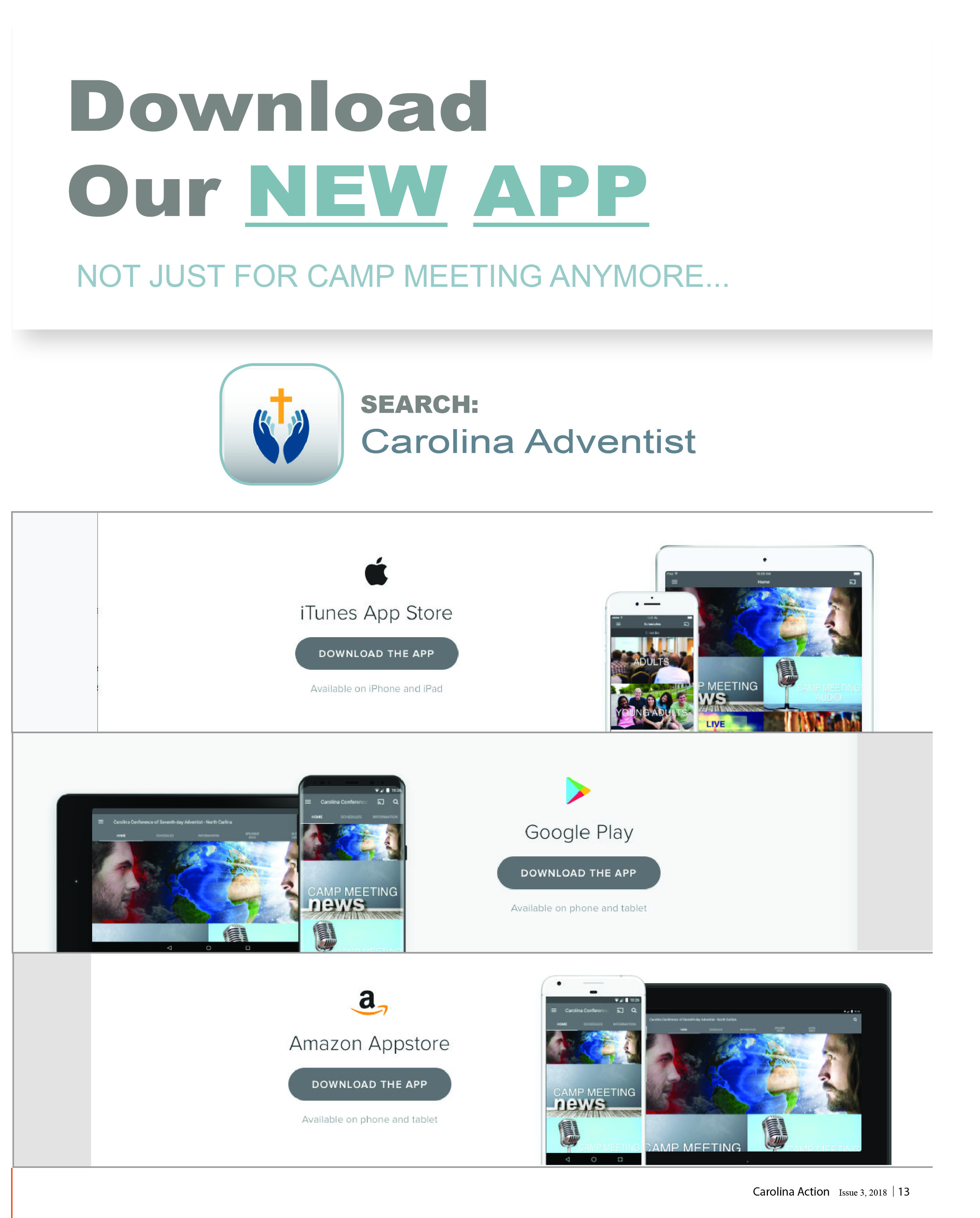 Design: Interactive – Best in Class    Carolina Conference App   Courtney Herod, Rebecca Carpenter  CAROLINA CONFERENCE OF SDA