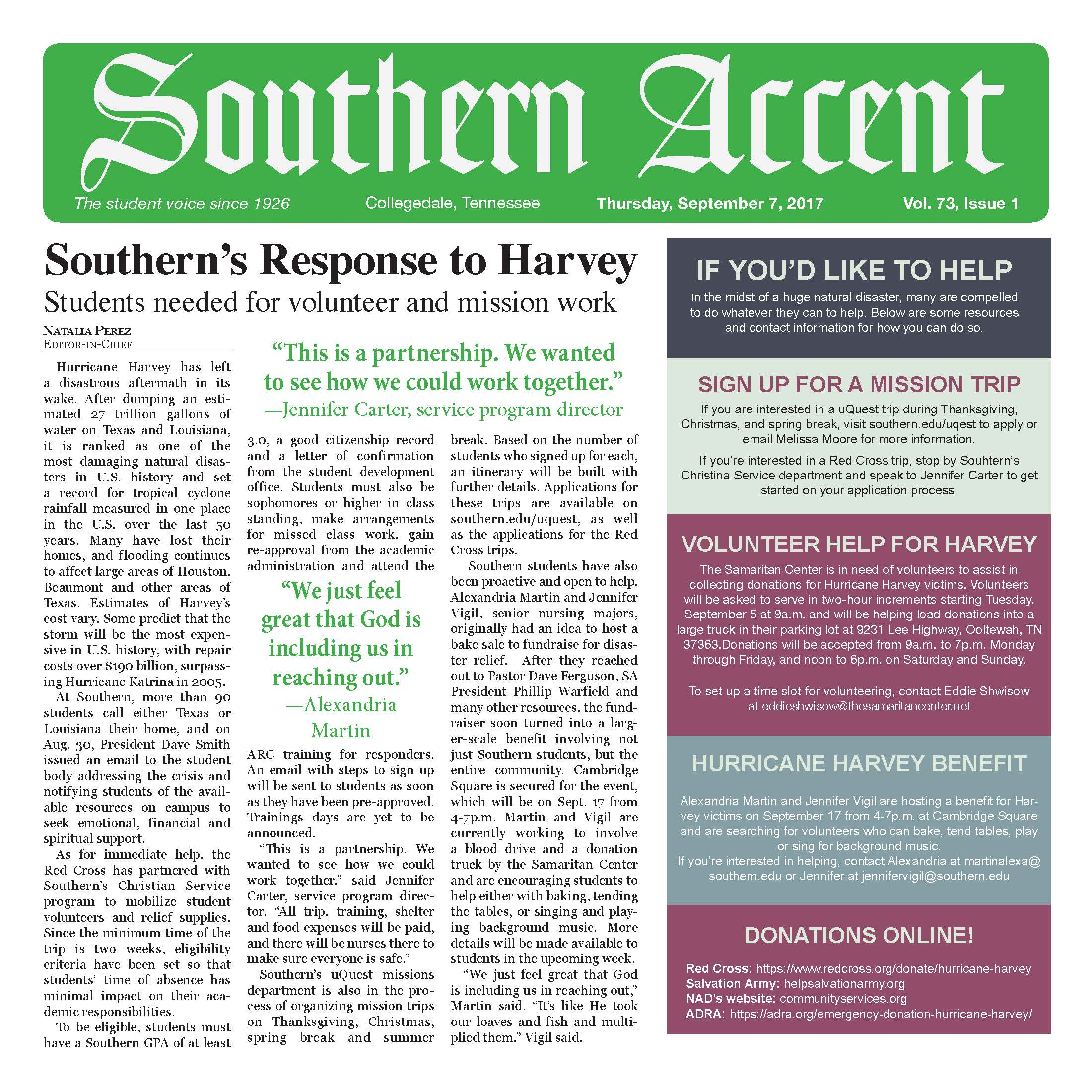 Writing: News – Student     Southern Accent  - Southern's Response to Harvey   Natalia Perez  SOUTHERN ADVENTIST UNIVERSITY