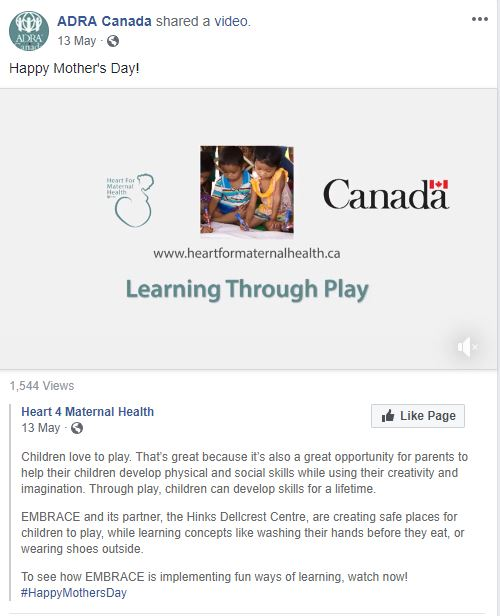 Writing: Micro-Copy – Best in Class    ADRA Canada's Mother's Day Facebook Posts   Kayla Casey; Frank Spangler  ADRA CANADA
