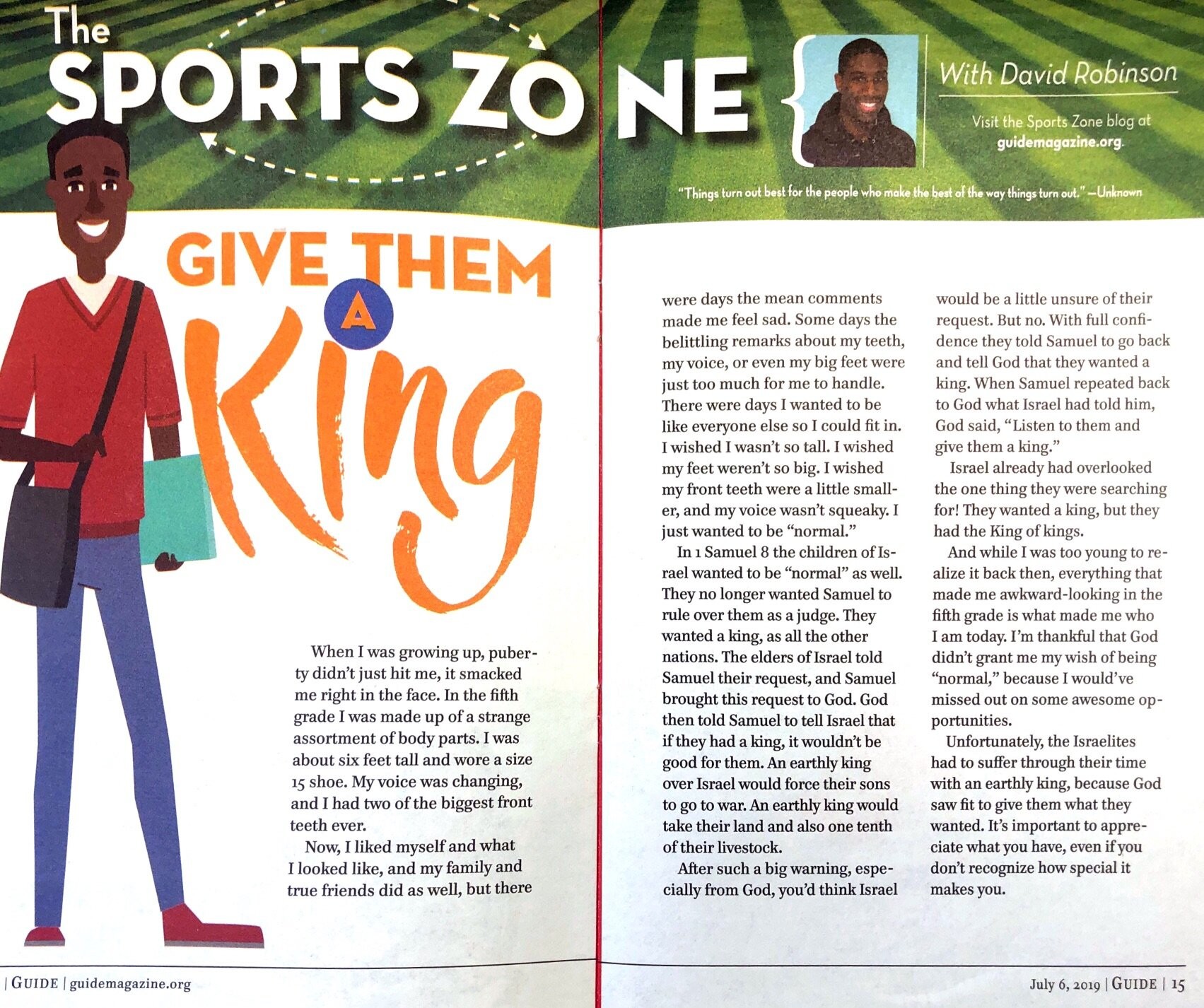 Writing: Feature (Shortform) – Best in Class     Sports Zone: Give Them a King    Sports Zone: Give Them a King  PACIFIC PRESS PUBLISHING ASSOCIATION