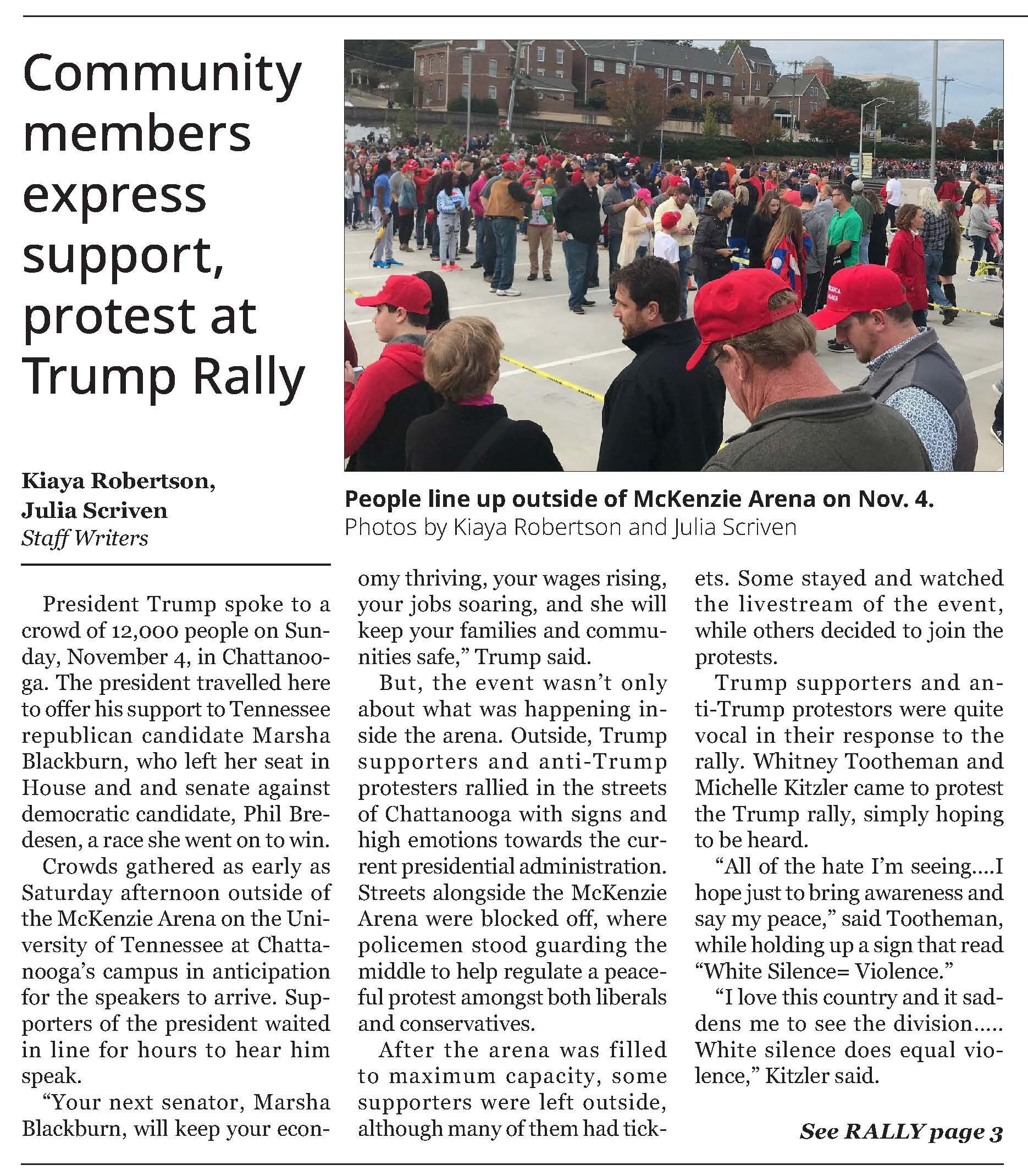 Writing: News – Best in Class     Community Members Express Support, Protest at Trump Rally    Kiaya Robertson, Julia Scriven  SOUTHERN ACCENT OF SOUTHERN ADVENTIST UNIVERSITY