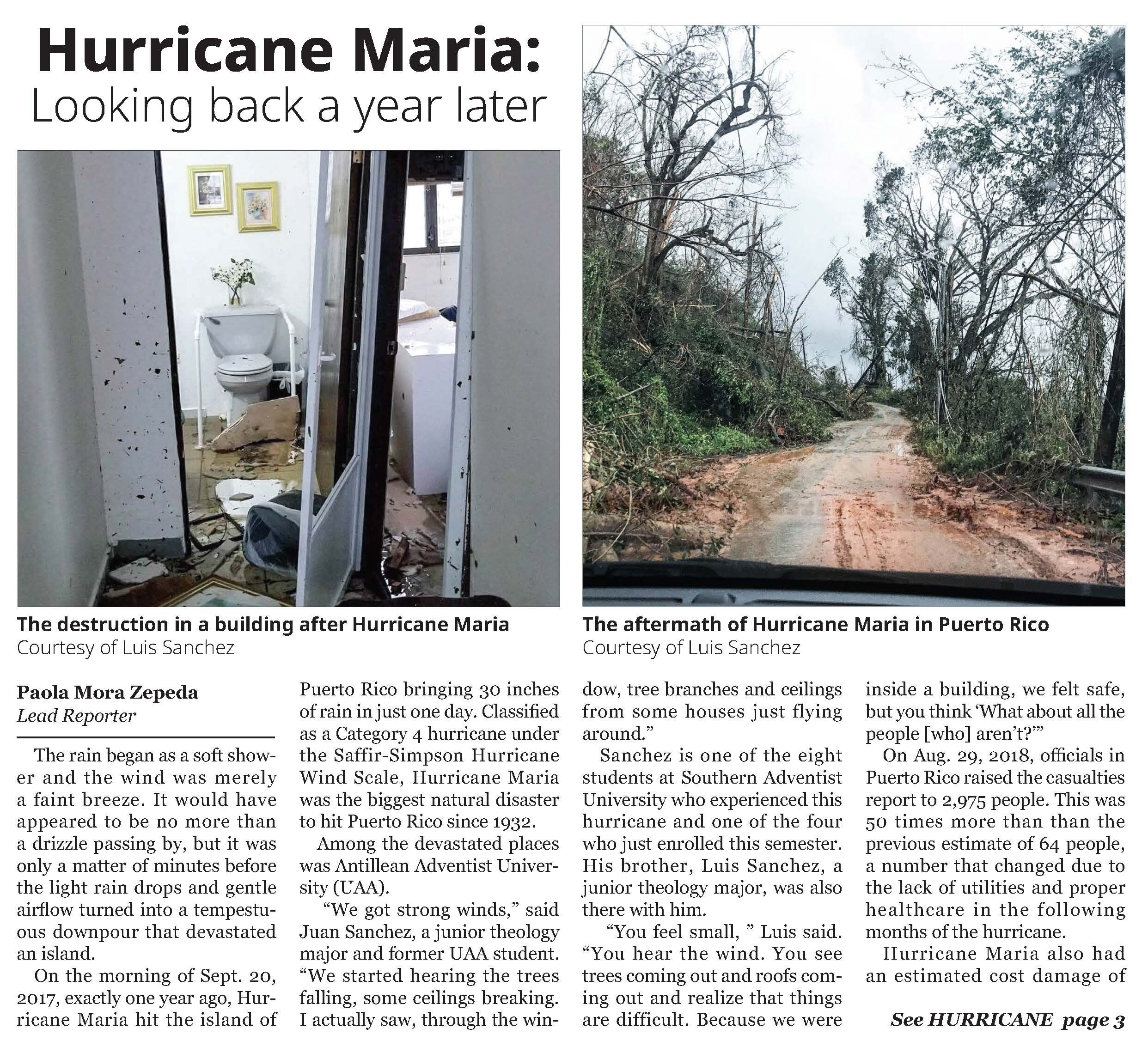 Writing: News – Honorable Mention     Hurricane Maria: Looking Back a Year Later    Paola Mora Zepeda  SOUTHERN ACCENT OF SOUTHERN ADVENTIST UNIVERSITY