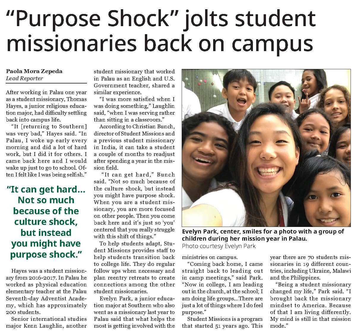 "Writing: News – Student     ""Purpose Shock"" Jolts Student Missionaries Back on Campus    Paola Mora Zepeda  SOUTHERN ACCENT OF SOUTHERN ADVENTIST UNIVERSITY""Purpose Shock"" Jolts Student Missionaries Back on Campus"