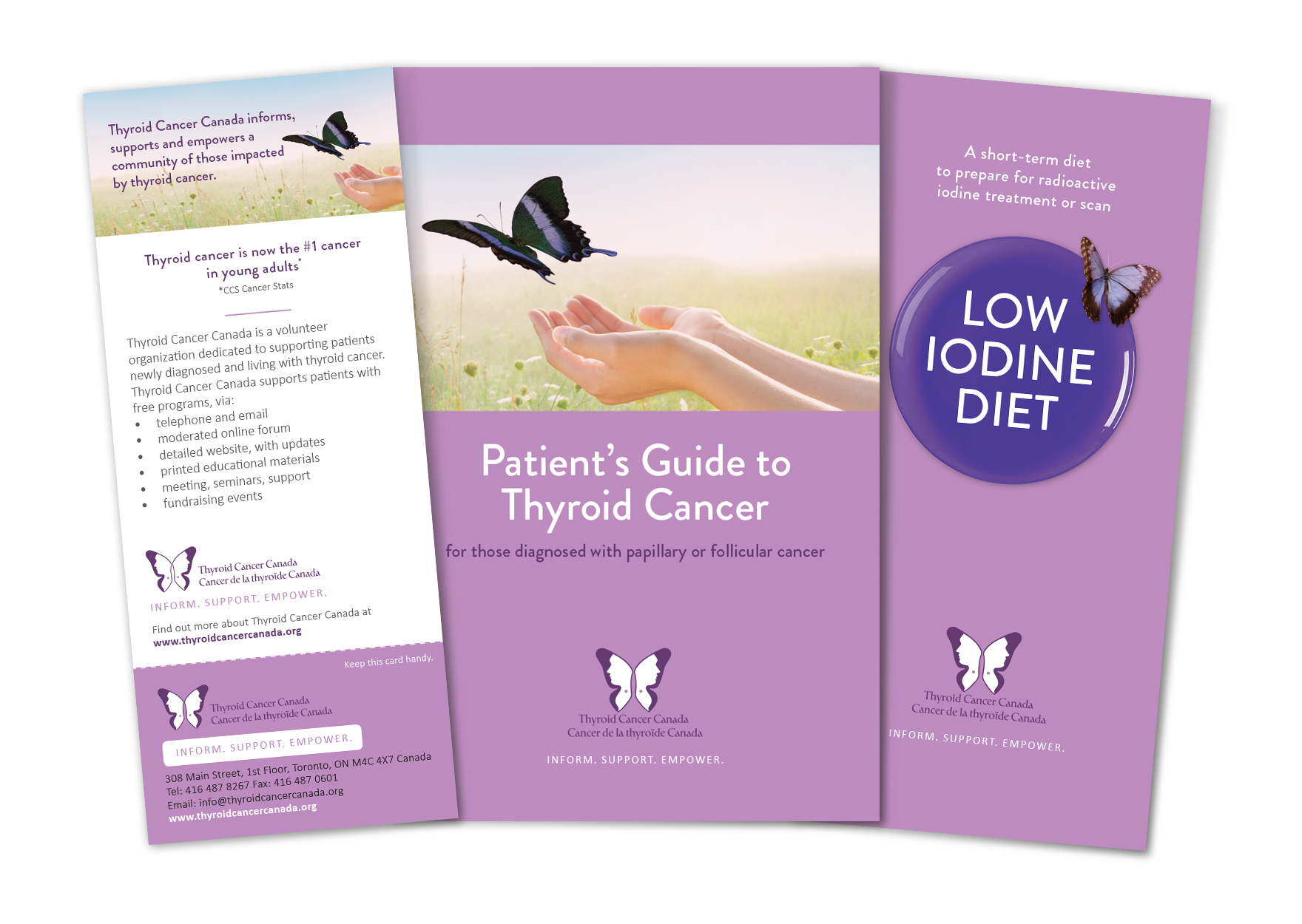 From left to right: Information Card, 32-page Patient's Guide to Thyroid Cancer and 20-page Low Iodine Diet Booklet.