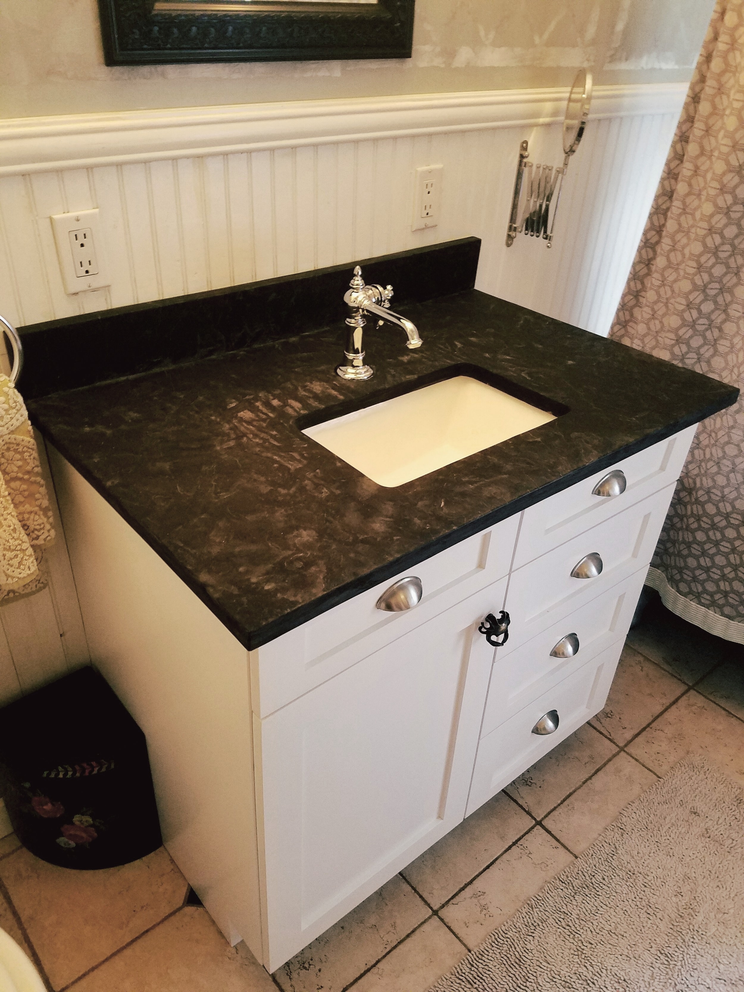 MOLINO CUSTOM BASALT VANITY  * Project was developed by Rebekah in accord with Builder Boy, Inc.