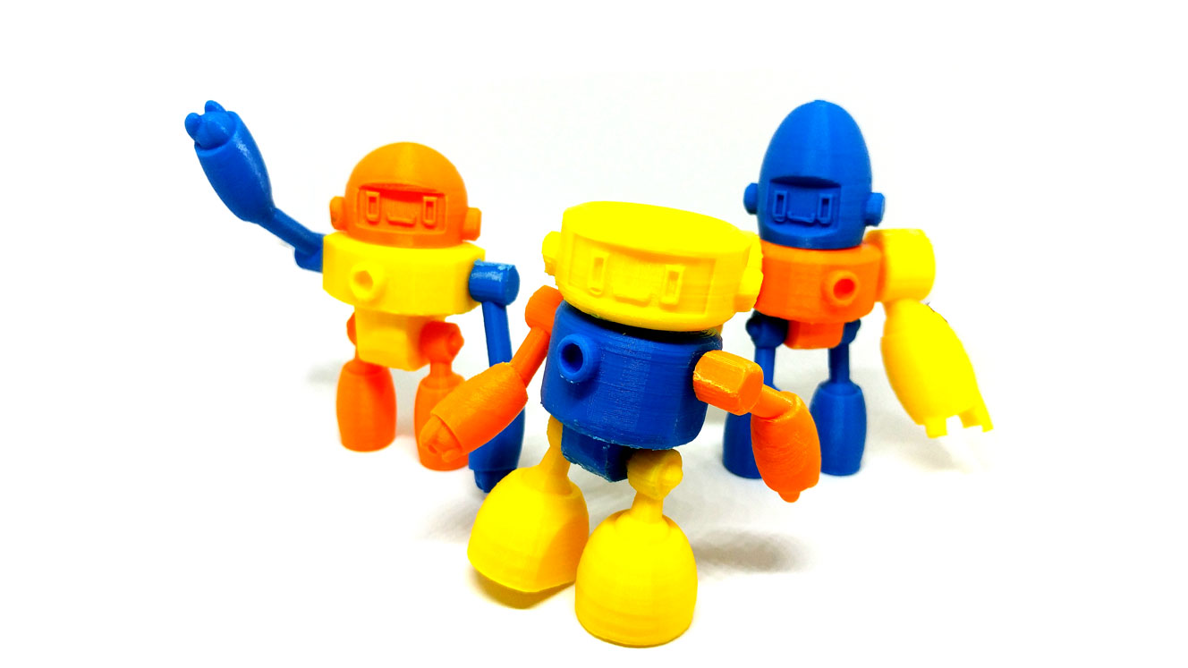 """SnodBOT Action Figures . Standing roughly 3"""" tall with 5 points of articulation with swap-able parts, allowing you to build your own SnodBOT! Currently 3D printed in sturdy PLA plastic."""