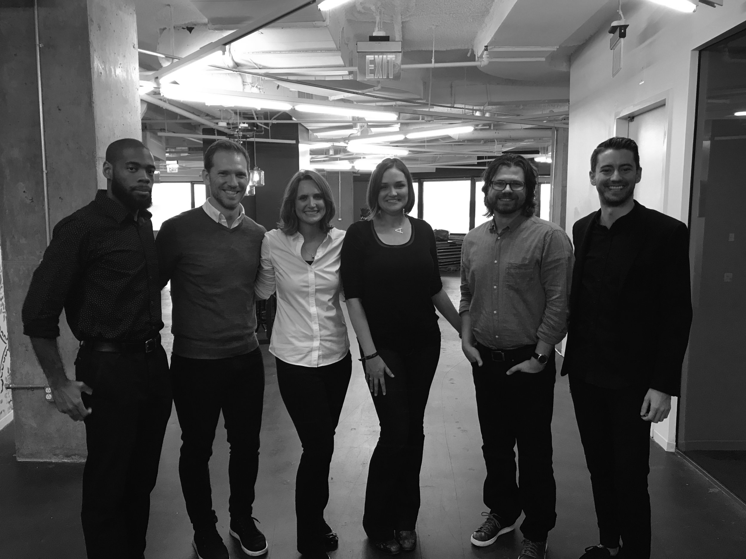 Founding JAMBers. Left to Right: Desmond Johnson, AIA NCARB NOMA; Christian N. Jordan, AIA; Katie Miller Johnson, AIA, LEED AP; Abigail R. Brown, AIA, LEED AP BD+C; Michael Anglin, AIA, LEED AP; Jared Edgar McKnight, Assoc AIA