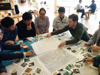 Nick Mira facilitating a community engagement workshop in Aridagawa, Japan
