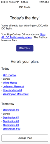 This screen would have shown a user's full touring plan when they started their tour.