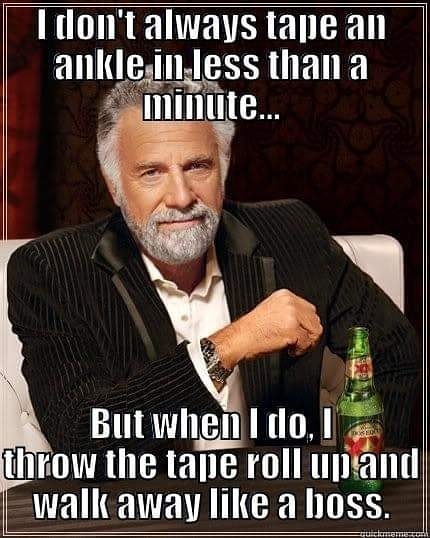 Then I turn back around and pick up the tape because I have 5 more ankles to tape. #LikeABoss #NATM2019 #ChooseSportsPlus #ChoosePT #ATsAreHealthCare