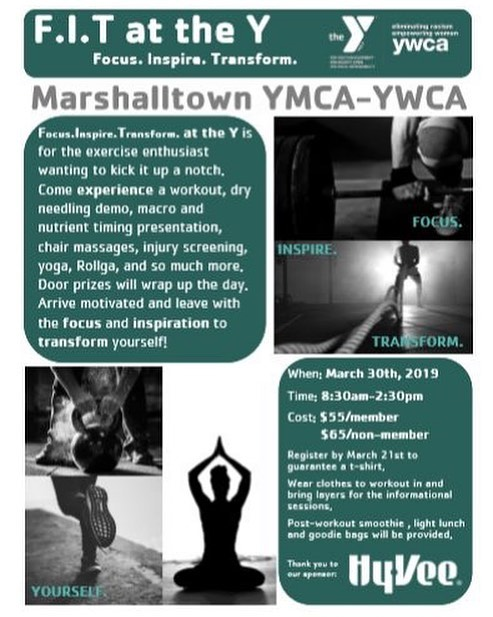 JOIN Scott Carnahan, MS, MPT, ATC at the Community Y this Saturday for Fit at the Y. Do you want to learn more about the Dry Needling technique that we perform? Do you want to learn from other health and fitness professionals in the Marshalltown community?
