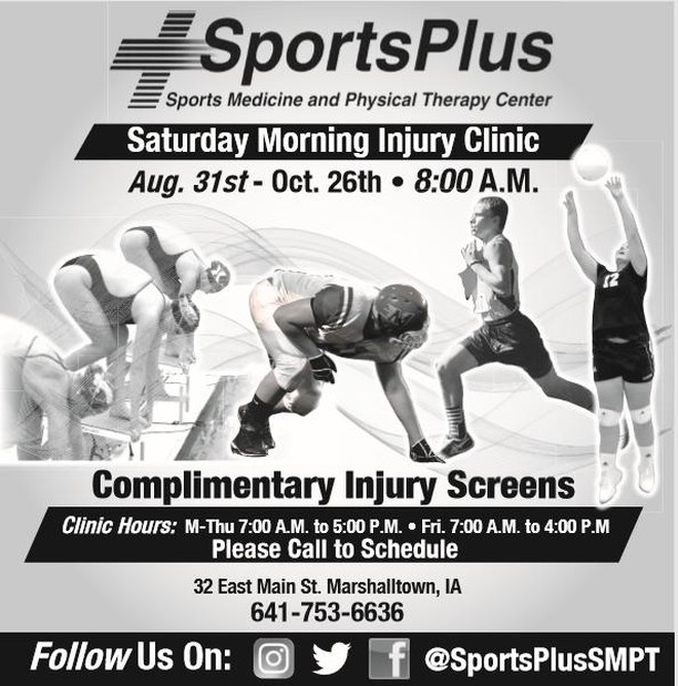 It's that time of year again - Bumps & Bruises or just not sure what to do after a long week of practices and games.  Opens: 8 AM, first come, first served.  Good luck to all area athletes and coaches! Have a safe and successful year! #SportsPlusSMPT #TryPTFirst #Call6417536636