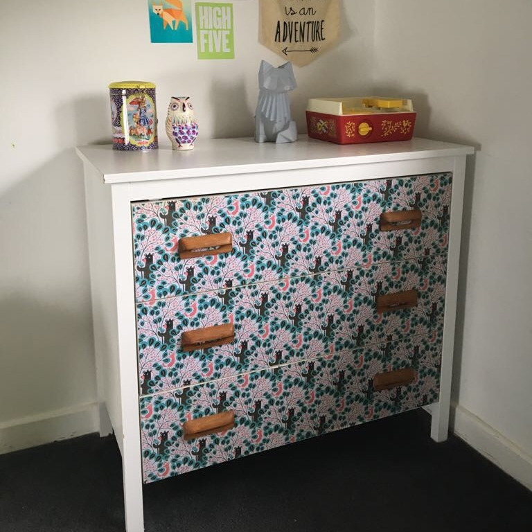 Ikea drawers papered and oak handles from eBay