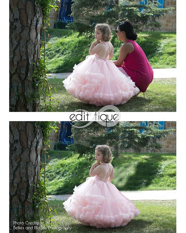 Here is this weeks #photoshopfriday In this retouch I was requested to remove the woman so that the image was just a portrait of the little girl.  This photograph was taken by one of my favorite clients Nada at Bellies and Blooms Photography :: www.belliesandblooms.com  Do you have an image you need photoshopped? Reach out today. www.edit-tique.com  #editing #retoucher #photoeditor #beforeandafter #photoshop #editingbeforeandafter #edittique