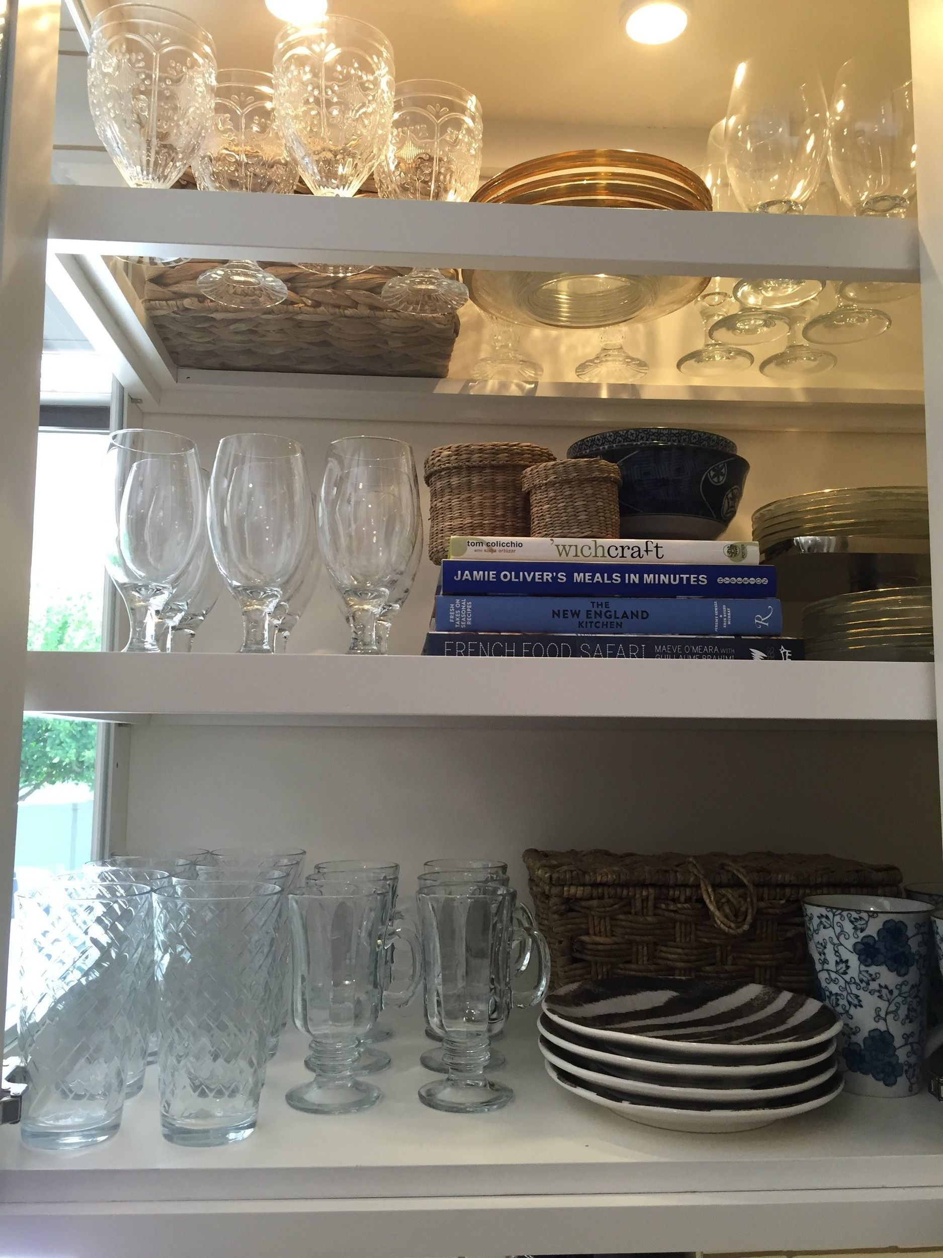 Great example of mixing every day glassware with other yumy goodies and dishes
