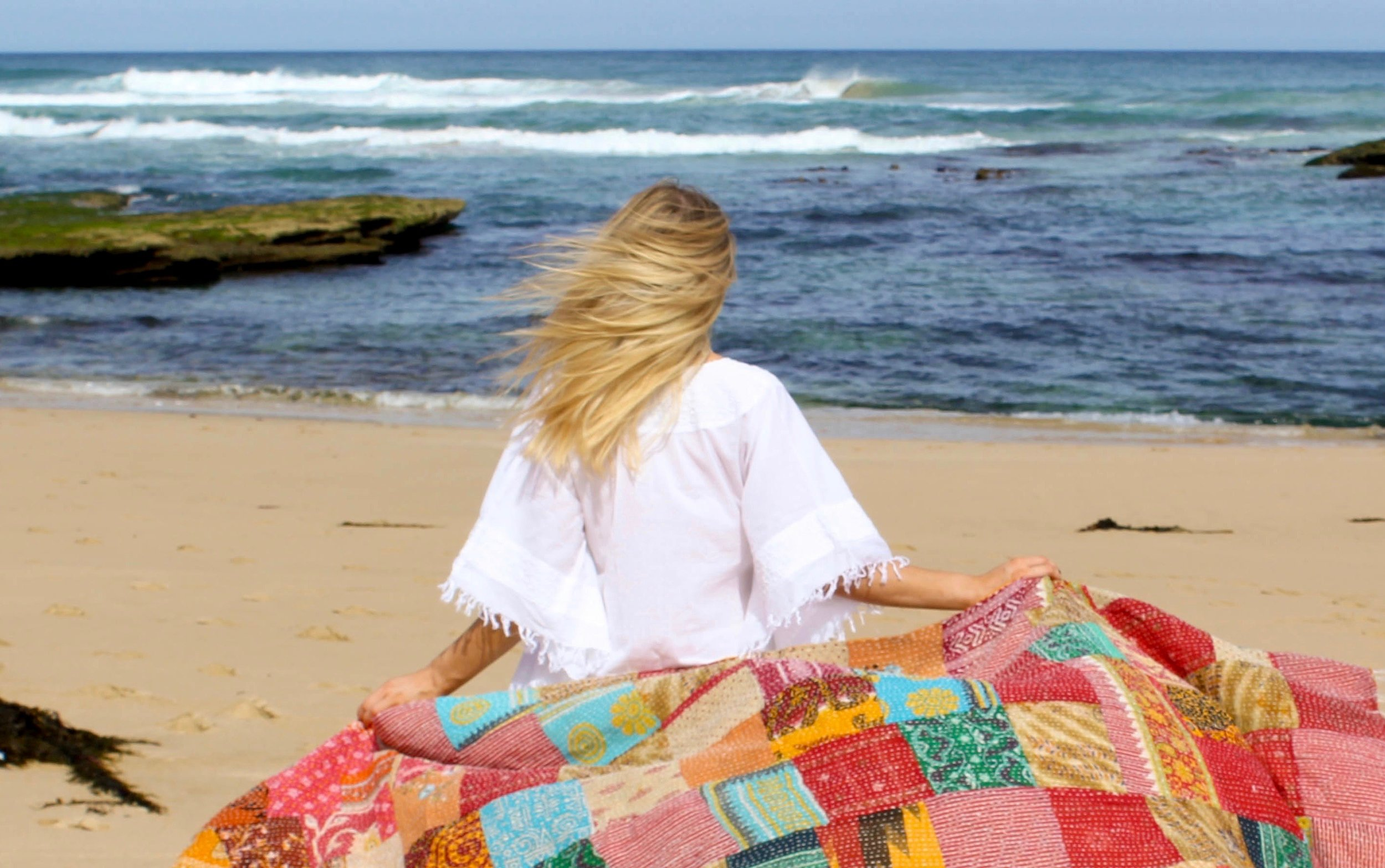 Monaco Kaftan White & Vintage Patchwork Kantha Product Code: 3B92WHEWH