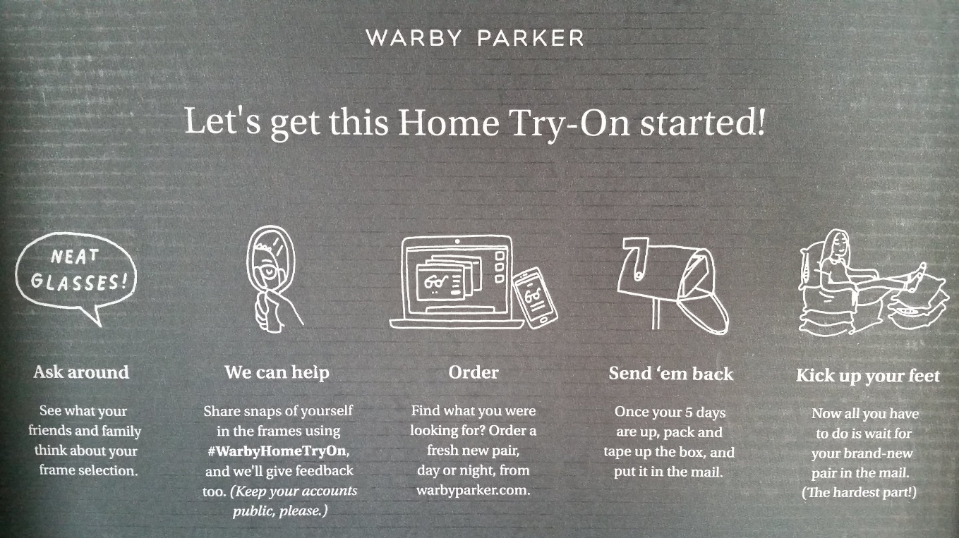 Warby Parker Home-Try On packaging (2018).
