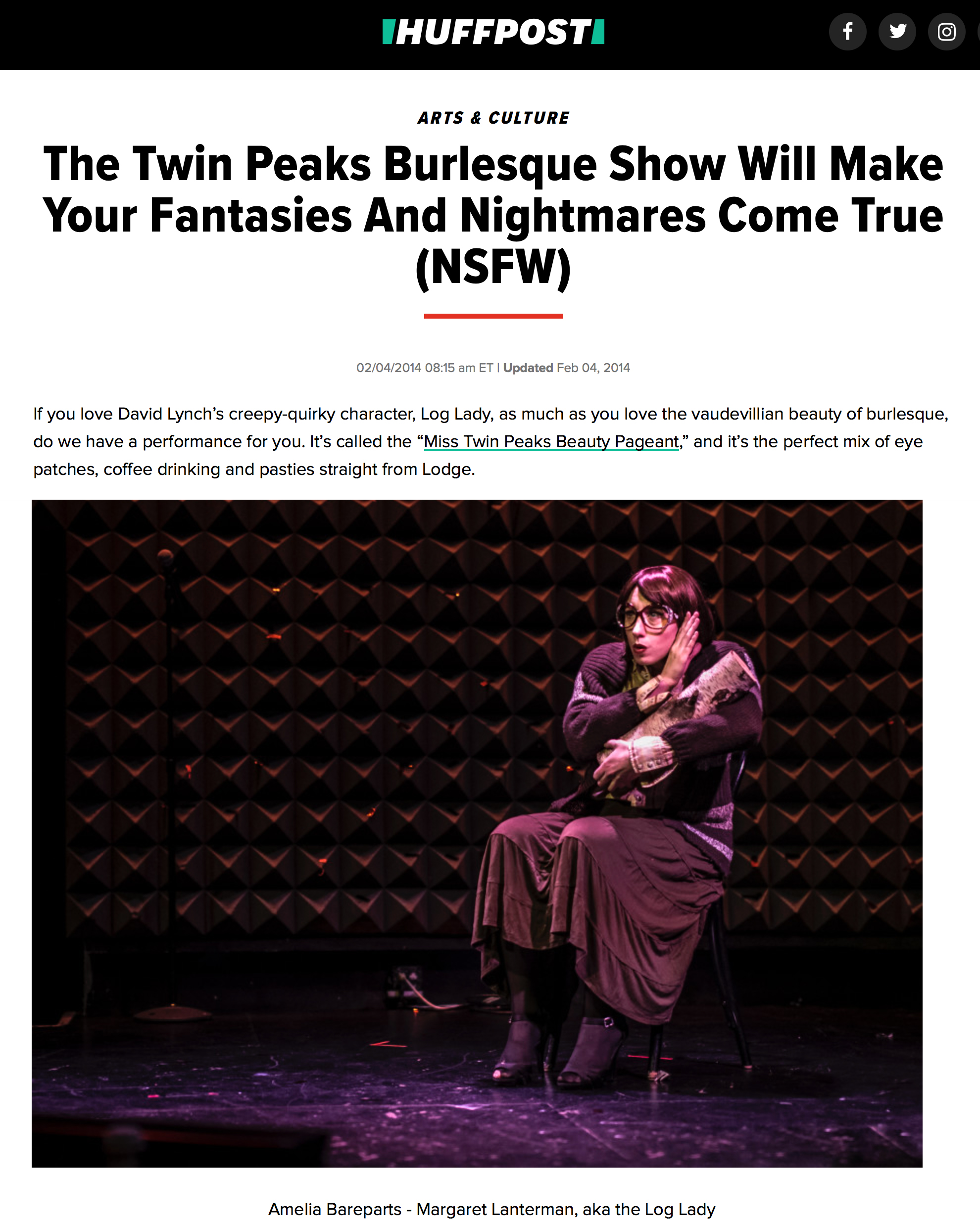 """""""The Twin Peaks Burlesque Show Will Make Your Fantasies And Nightmares Come True"""" -  Huffington Post"""