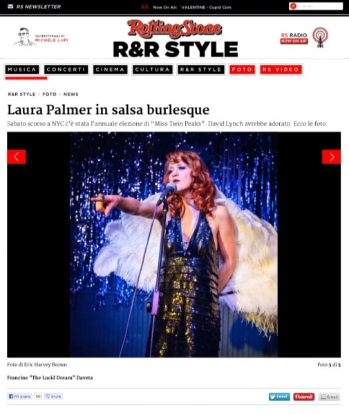 """""""David Lynch would love (The Pink Room Burlesque)"""" - Rolling Stone Italia"""