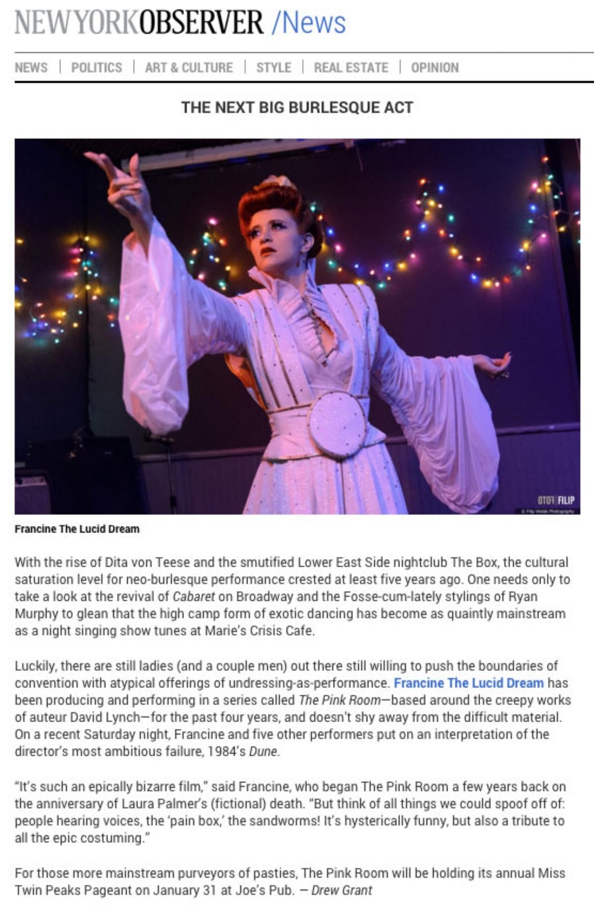 Francine & The Pink Room Burlesque on  Observer.com