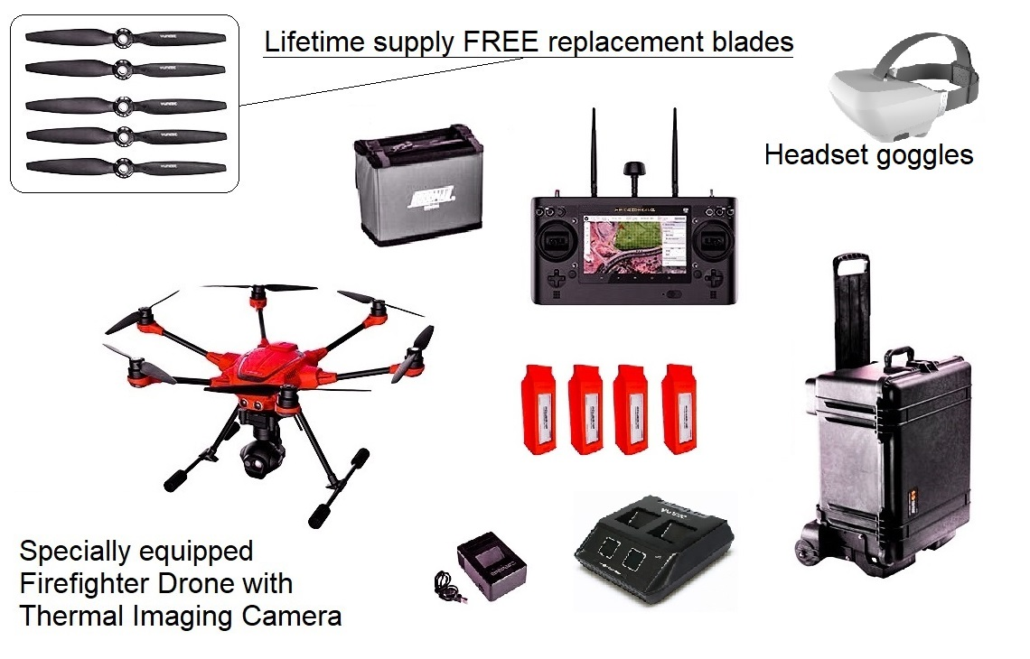 Complete Kit - Police, Fire, and Rescue.Comes with a water tight Pelican case, FREE unlimited replacement rotor blades, registration, spare batteries, commercial charger, and more. We also offer a battery exchange program to ensure old worn out batteries are recycled.