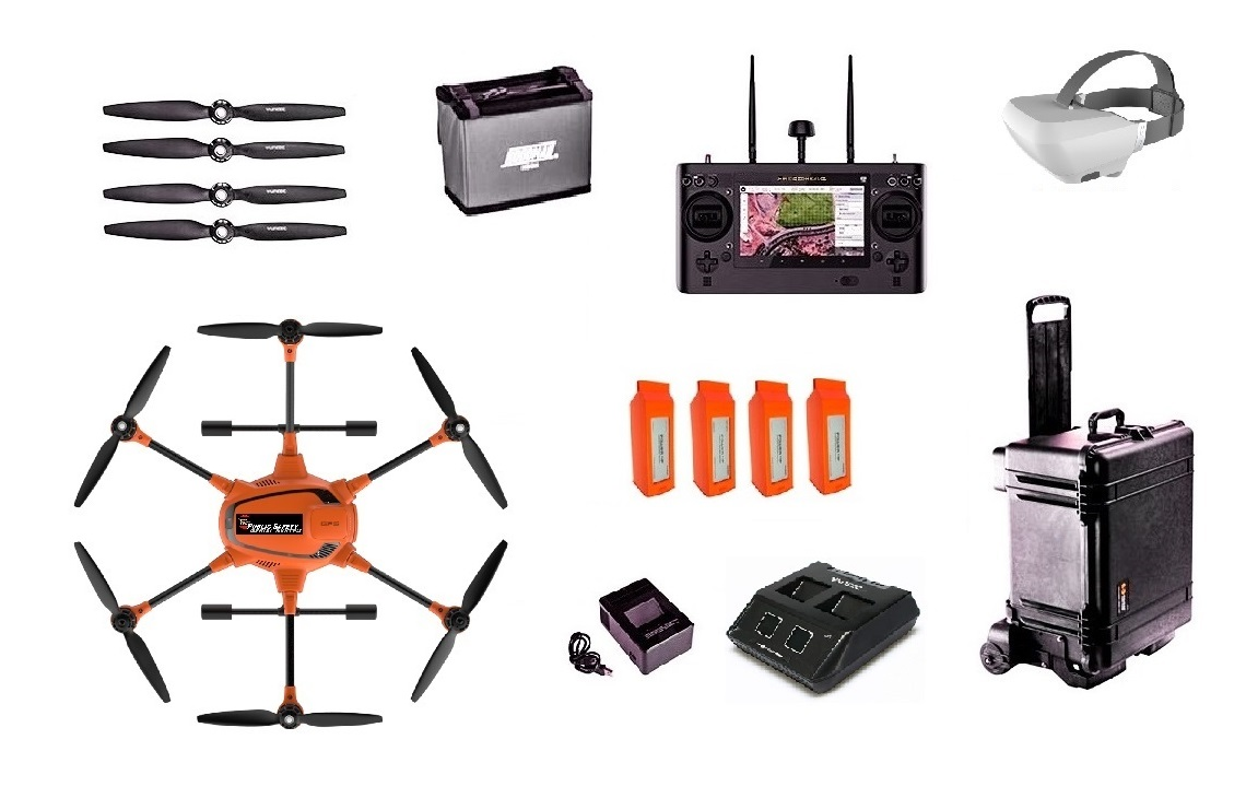 Complete Kit - Heavy Duty Commercial Long-Range Thermal Imaging Aerial SystemWater tight Pelican hard case2 Controller Batteries4 Aircraft BatteriesDual Charger UnitSkyView Goggles