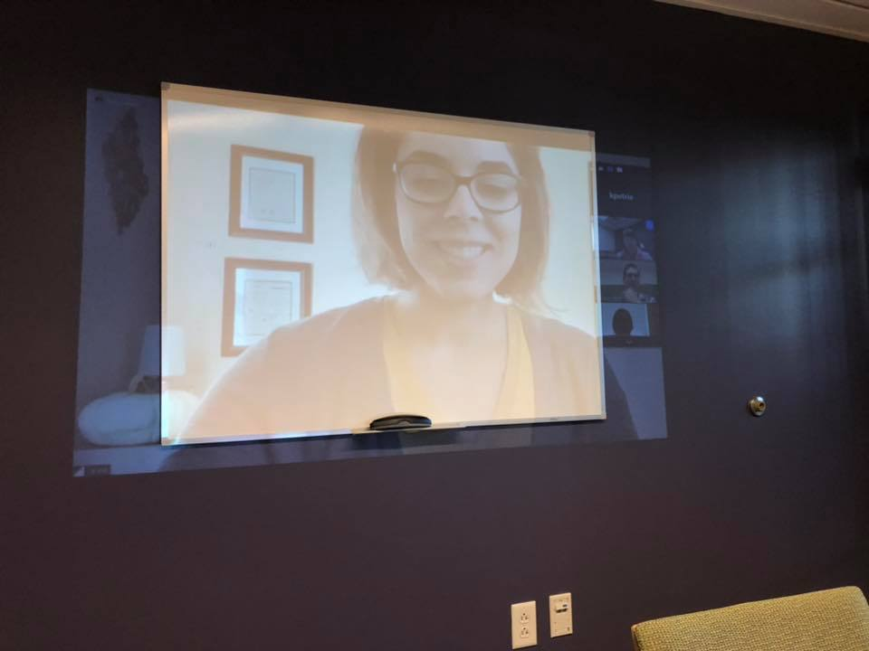 Turns out my colleague, Kaylan Petrie at the Museum of Science, Boston, was participating in the web chat… and projecting us on her wall! Welcome to my home office!