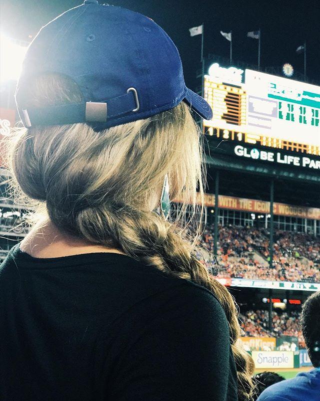 Rockin the baseball cap AND a braid. Because, girly girls like sports too! 😘