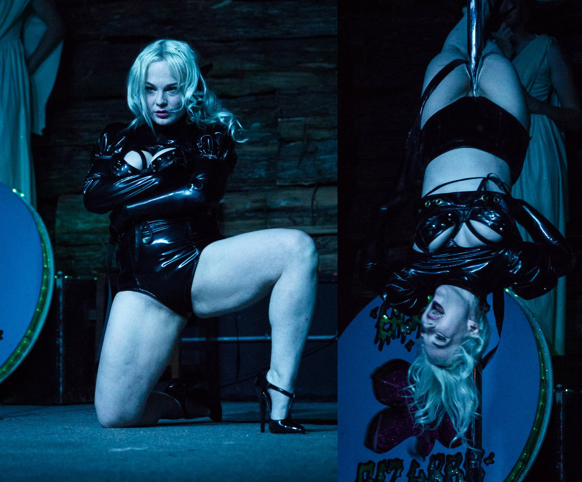 Asylum - Straight jackets, fetish heels, and pole. This act was Miss O's first ever act and has been constantly evolving. Bondage and pole dancing whilst wearing a pic straight jacket make this act one to remember.(This act requires pole)