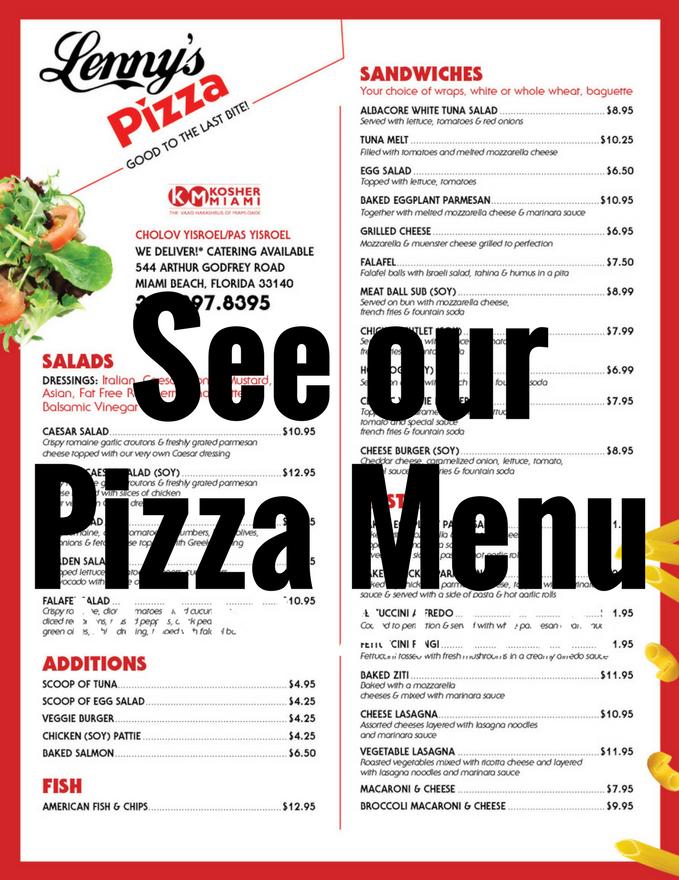 Lenny Reiz Kosher Pizza Miami Florida