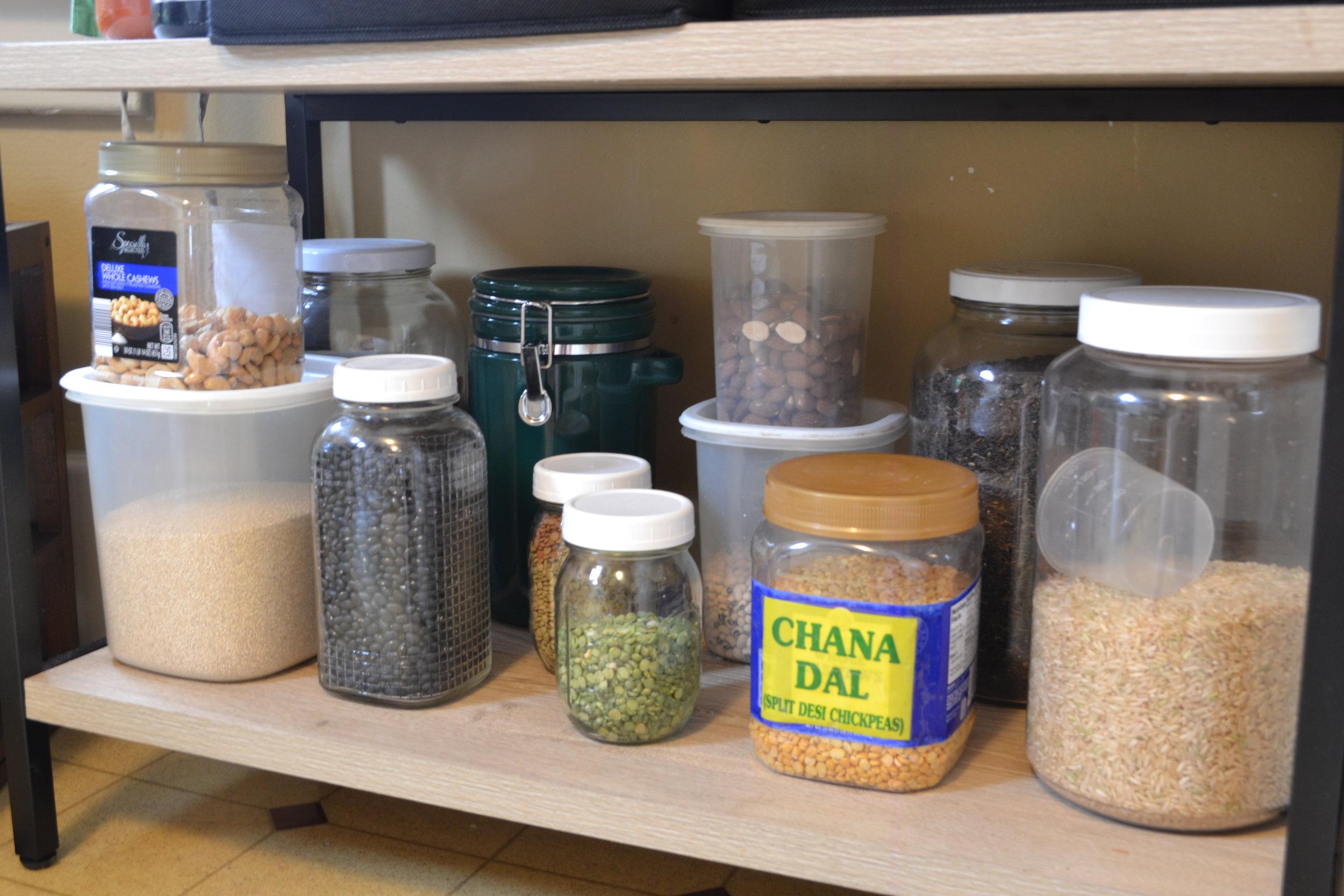Kitchen storage for dry goods.