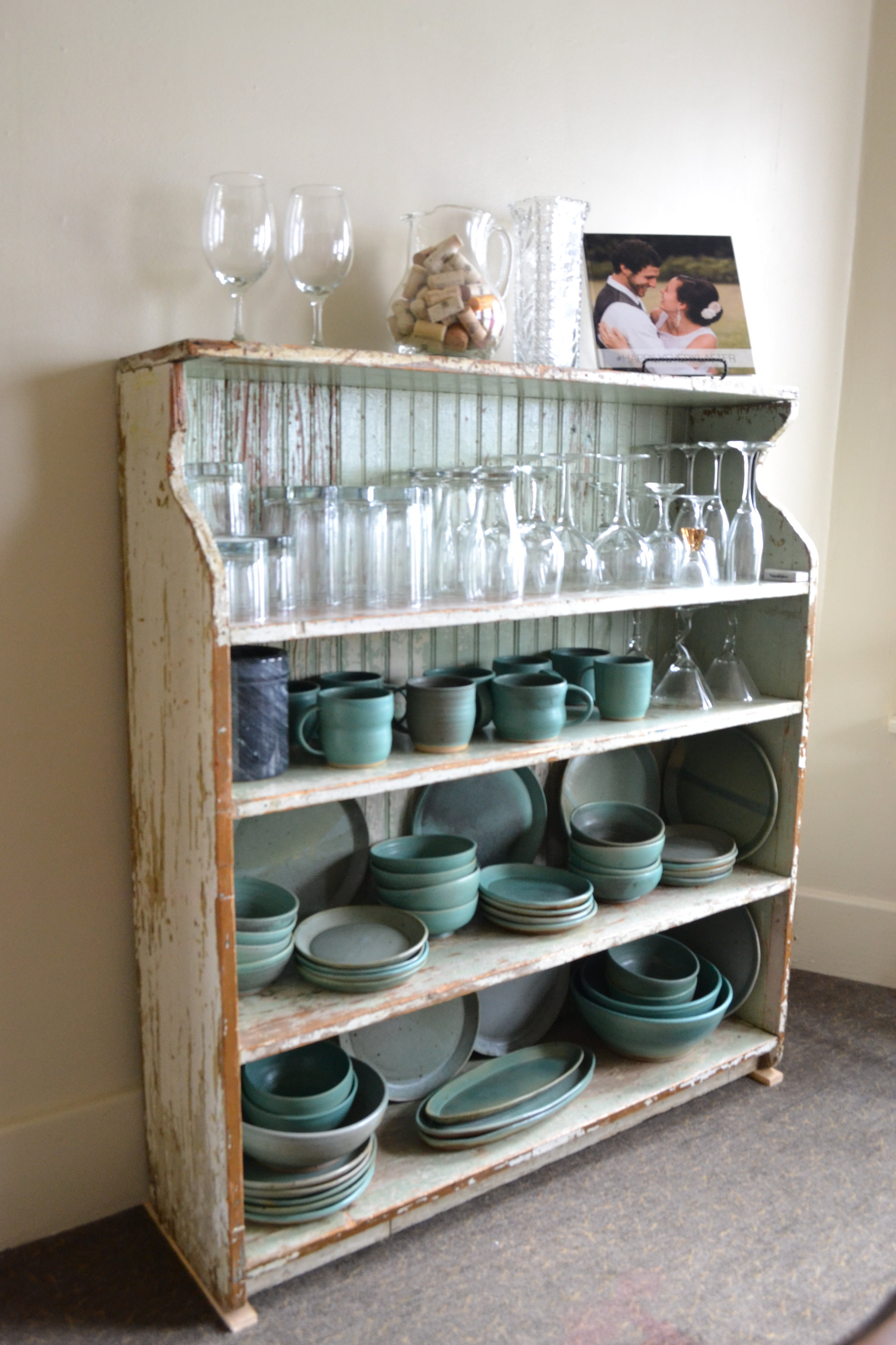 When there is not enough room in your cabinets, dishes and glassware can be displayed.