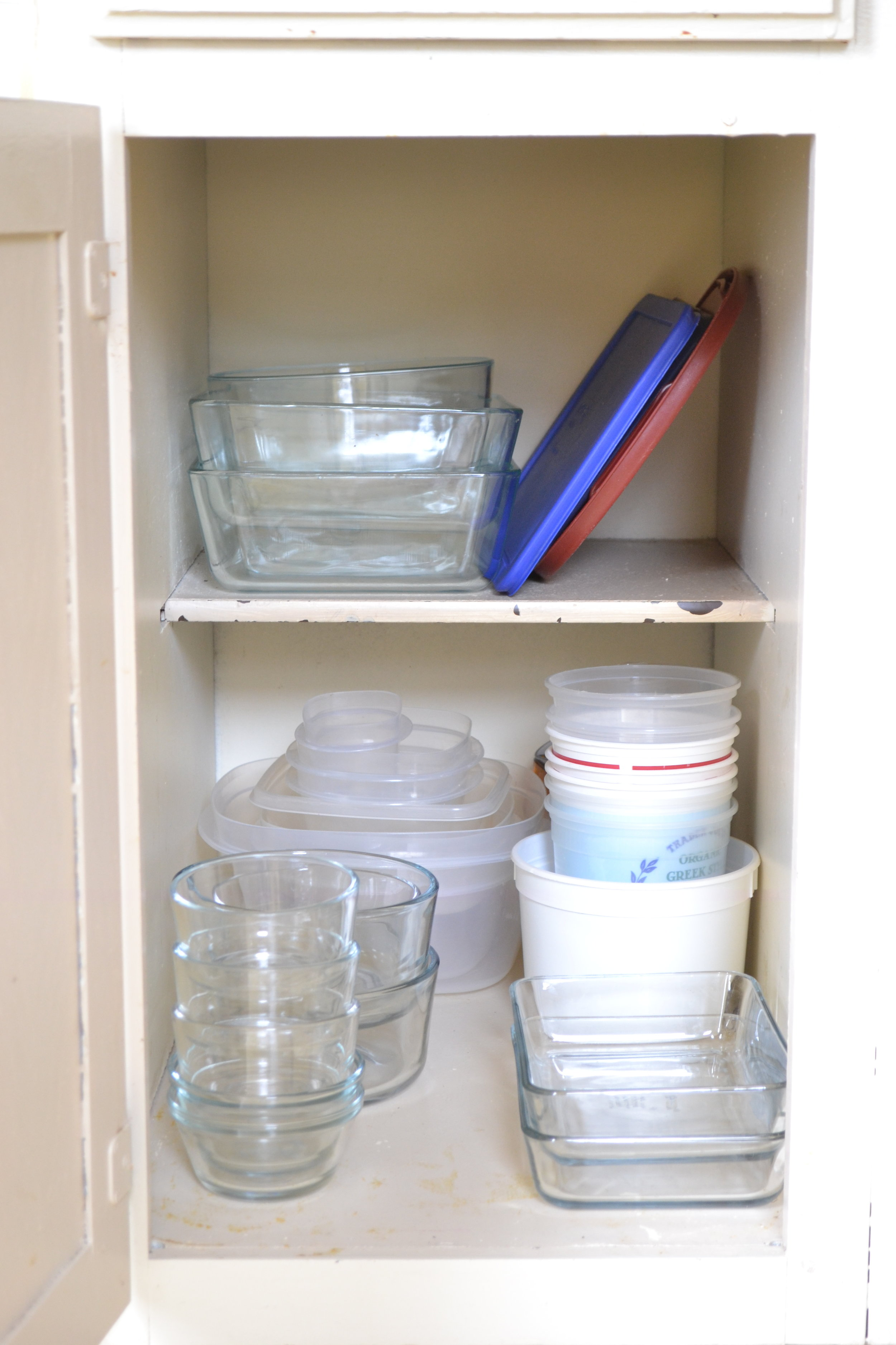 Kitchen cupboards, tupperware and pyrex