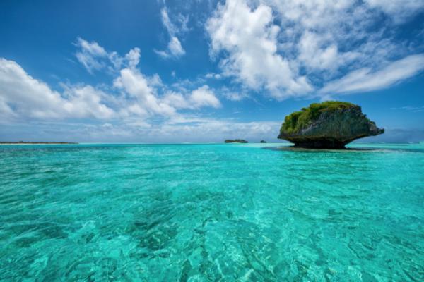 Pristine lagoon with limestone karsts. Photo © Vatuvara Private Islands.