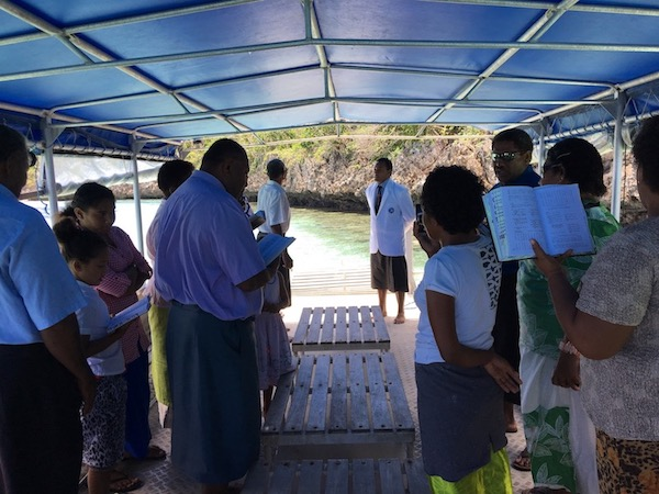 Traditional blessing given by Yacata Island to close tabu area. Photo by Katy Miller/Vatuvara Foundation.