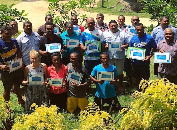 Newly appointed Fish Wardens after completing training conducted by the Ministry of Fisheries on Kaibu Island. Photo by Vatuvara Private Islands.