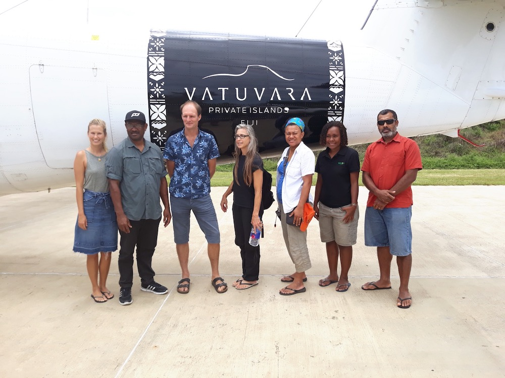 A team of scientists from Birdlife International Pacific, NatureFiji-MareqetiViti, US Geological Surveys and Vatuvara Foundation arrive in Northern Lau to embark on a four day terrestrial survey. © Nunia Thomson-Moko/NatureFiji-MareqetiViti.