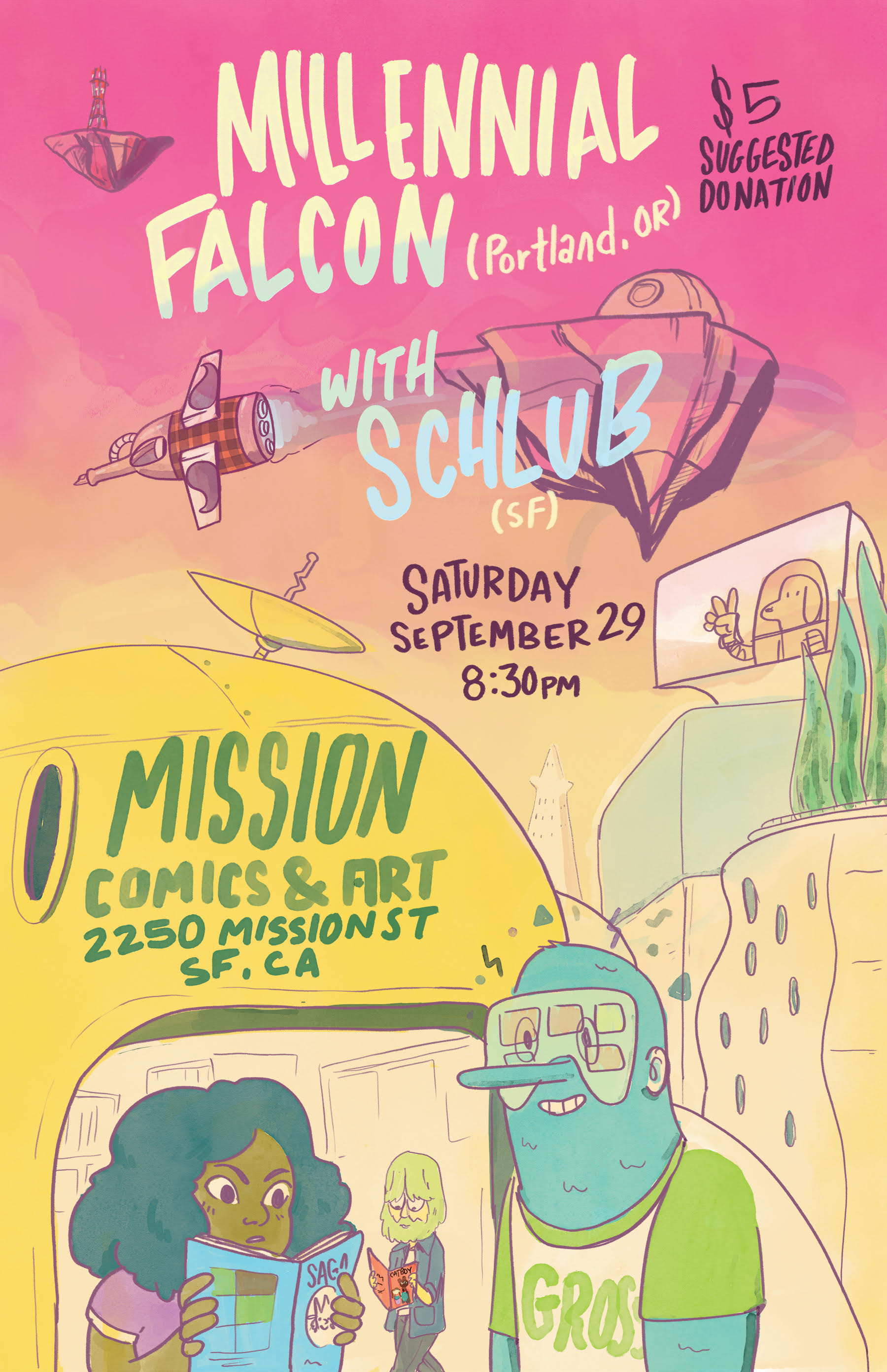 Show Poster for Millennial Falcon and Schlub