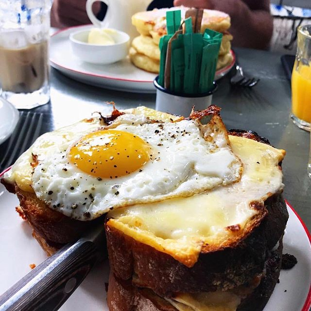 SUNday funday and it's FINALLY  warm enough to go outside... perfect afternoon for pastrami croque madame before the game 🏈