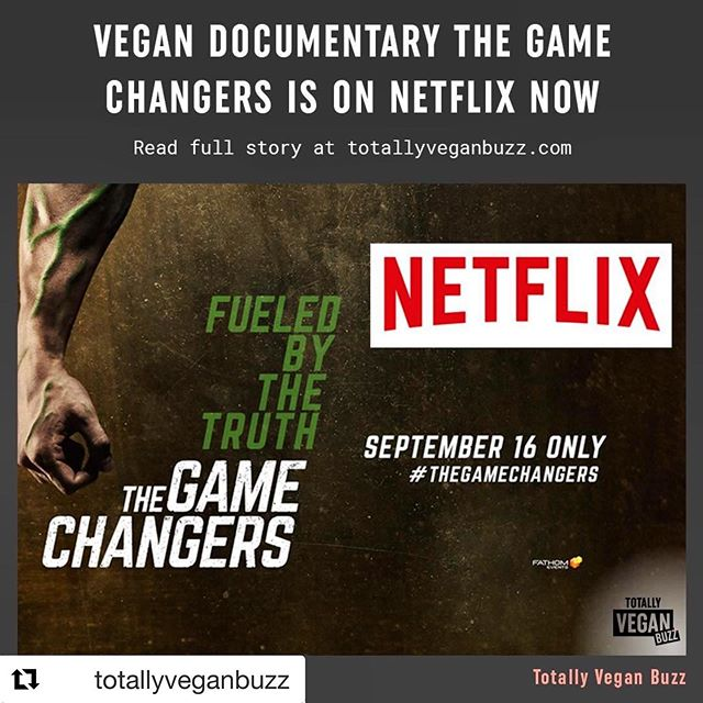 #Repost @totallyveganbuzz ・・・ The iconic documentary has JUST launched on @netflix worldwide!! 🙌 Featuring some of the world's top plant-based athletes, including @schwarzenegger, @lewishamilton and @djokernole, The Game Changers dispels myths about needing meat to reach top athletic performance and promotes a plant-based lifestyle. The movie sold out in hundreds of cinemas on release and became the best selling documentary on iTunes of ALL TIME within just a week of release.⠀ . 🌱 #gamechangersmovie #veganforever #veganfortheanimals #veganathlete