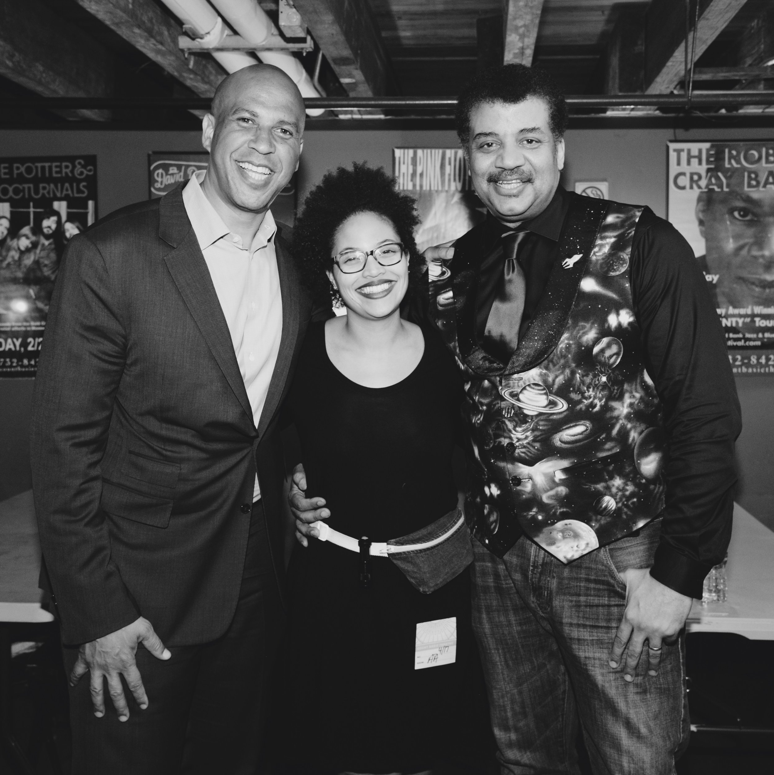 Corey Booker, Naomi Westwater Weekes, & Neil deGrasse Tyson backstage at The Count Basie Theatre in NJ after  StarTalk Live!  (photo by Elliot Severn)