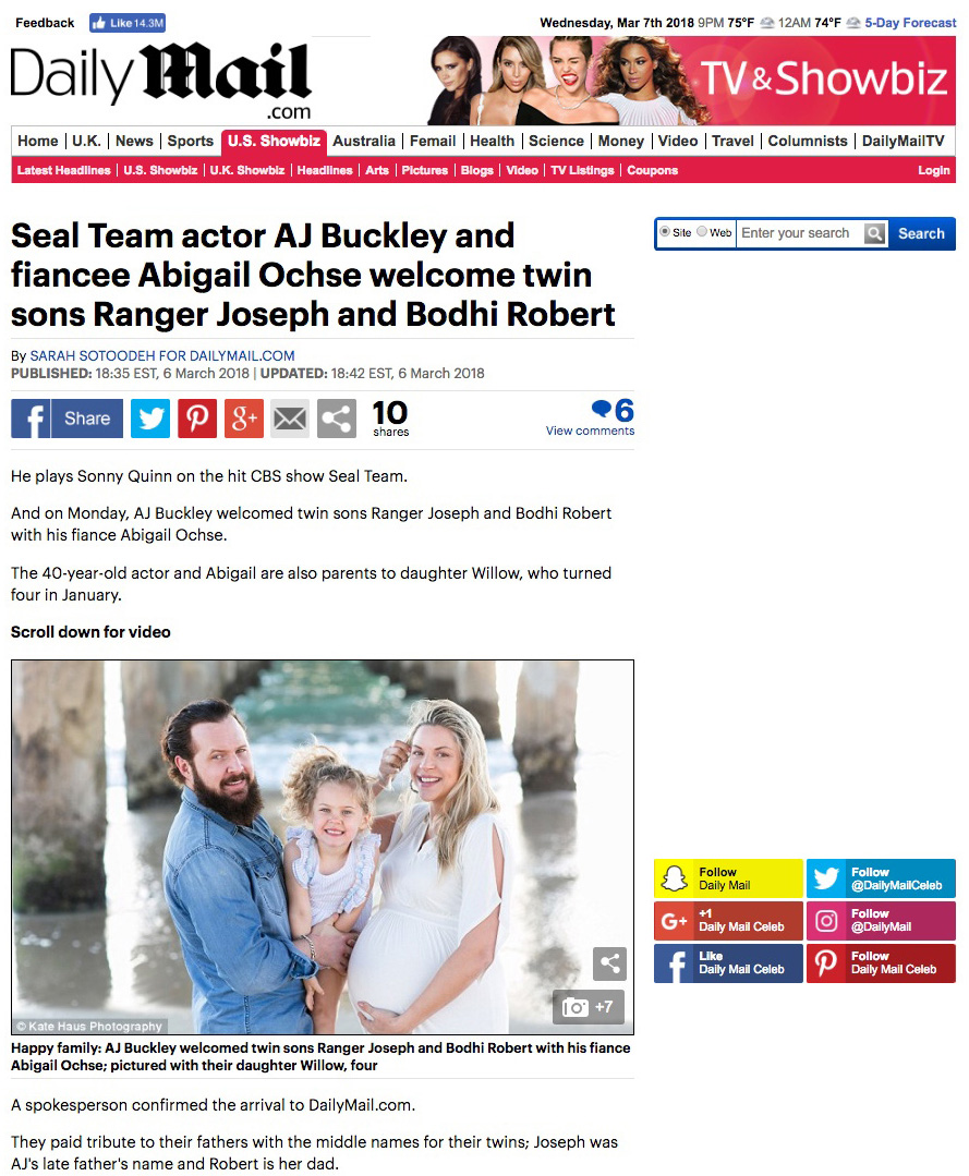 Daily Mail: SEAL Team Actor AJ Buckley and Fiancee Abigail Ochse welcome twin sons