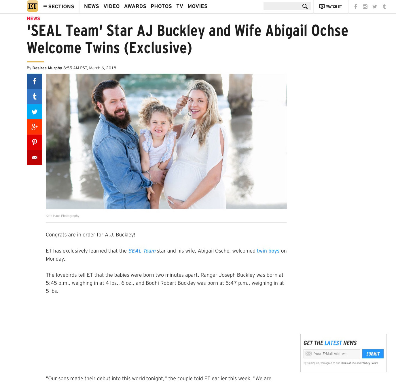 Entertainment Tonight: SEAL Team Star AJ Buckley and Wife Welcome Twins!