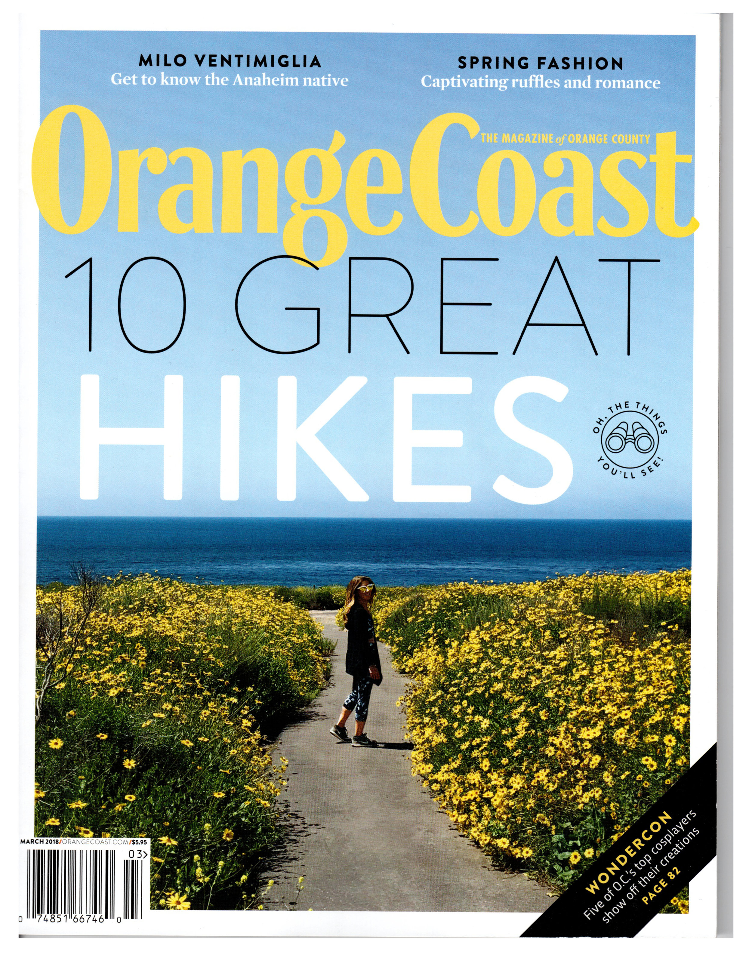 Shakti Natural Bars - Featured as the right hiking companion in OC's own Orange Coast Magazine (March 2018)